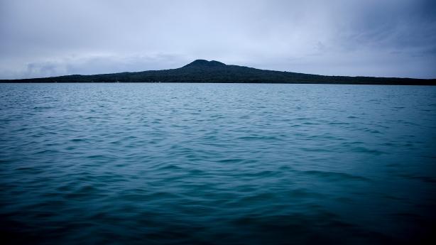 Heading to Waiheke - passing Rangitoto Island volcano